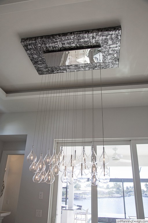 Dining Lighting Pendants hung from faux finished base