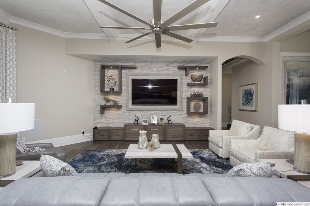 Living Room Built-in Entertainment center, custom draperies, accessories