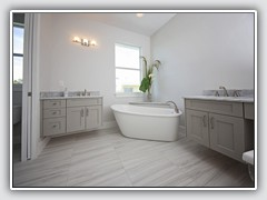 Beautiful shades of gray in Master Bath