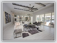 Large coffee table is the center of the open concept for the great room